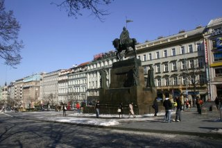 Wenceslas Square  and statue of St. Wenceslas