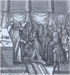 The coronation of Charles IV. King of Bohemia in St. Vitus Cathedral at Prague Castle