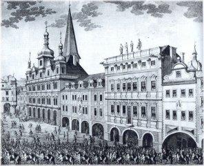 Coronation procession - Lesser Town Sqaure (czech: Malostranské náměstí)