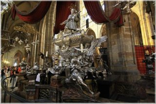 Prague Castle - St. Vitus Cathedral -interior - tomb of st. John of Nepomuk (or John Nepomucene