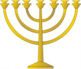 Menorah - a traditional seven-branched candelabrum