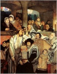 Jews praying at the synagogue