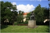 Charles Square and  the statue of Czech scientist J. E. Purkyně